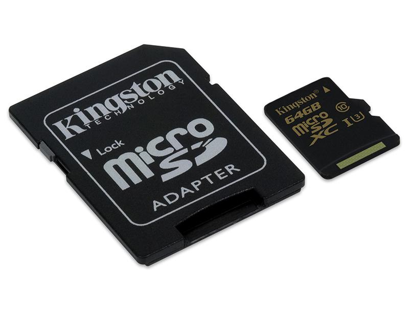 Memory Card 64GB Class 10 U3 Kingston Gold microSDHC with SD adapter τηλεφωνία   αξεσουάρ   κάρτες μνήμης